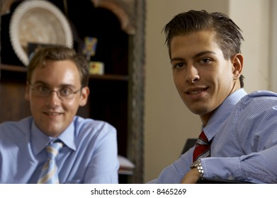 Two young business men in a portrait