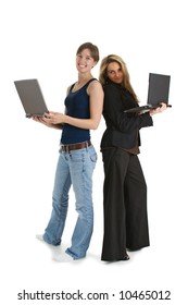 Two young business women with laptop computers - one wearing casual clothes and the other dressed in a suit.  Isolated on white background.