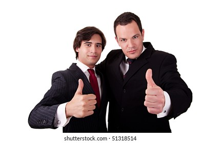 two young businessmen giving consent, with thumb up, isolated on white background