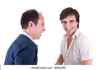 two young businessmen laughing