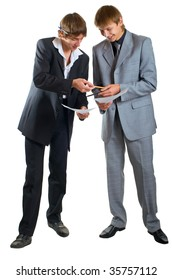 Two young businessmen on white background. Isolation