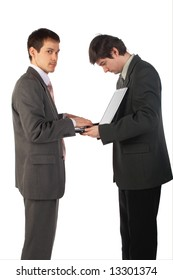 Two young businessmen working isolated on white 2