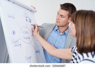 Two Young Businesspeople in a Brainstorming Session, Making a Conceptual Diagram on a White Poster Paper.