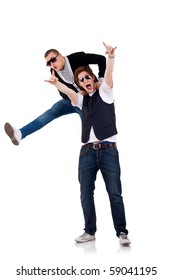 two young casual men isolated on white - party starters jumping around