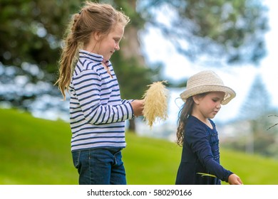 two young child girls, sisters, playing outdoors