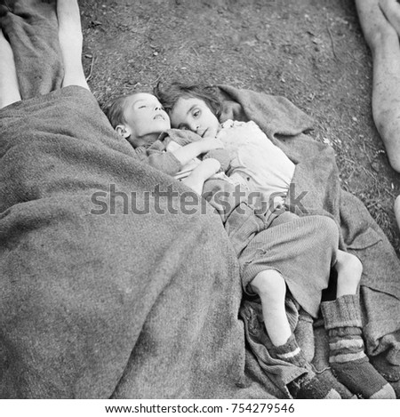 Two young children who starved to death in the Nazi German Belsen Concentration Camp. April 1945, World War 2