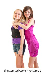 Two young club style beautiful girls isolated