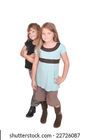 two young female children together over white