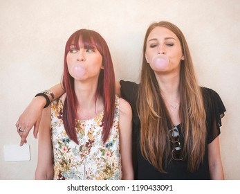 Two young female friends having fun together