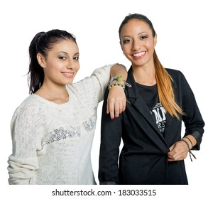 two young female girlfriends smiling dress black and white casual attractive real people