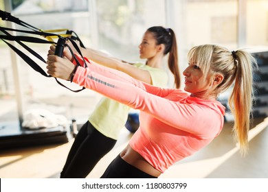 Two young fit girls in a gym doing suspension training.