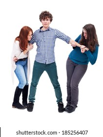 Two young girl fighting over a handsome boy