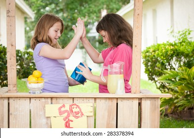 Two young girls giving a hive five while looking in their lemonade stand money bucket.