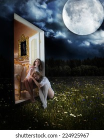 Two young girls sit on the threshold of the door between the rooms with real objects and the world with natural night abstract