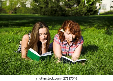 two young girls in the spring park
