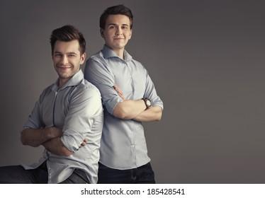 2 Men Posing Images Stock Photos Vectors Shutterstock