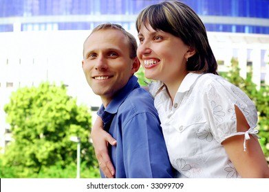 Two young happiness people with smiles