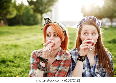 Two young hipster girls having fun on the picnic, best friends concept, close-up