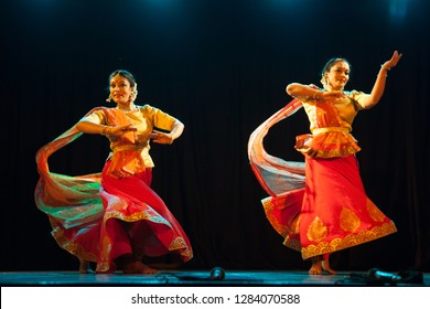 Two young kathak dancers rejoice at the 'Nazariya' event by Natya Institute of Kathak and Choreography on January 11,2018 held at Bharatiya Vidya Bhavan hall in Bengaluru,India