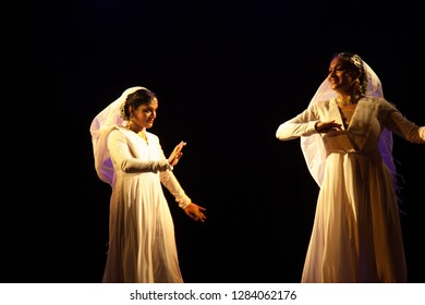 Two young kathak female dancers consoling each other at the 'Nazariya' event by Natya Institute of Kathak and Choreography on January 11,2018 held at Bharatiya Vidya Bhavan hall in Bengaluru,India