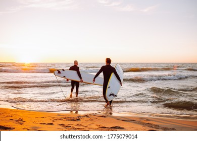 Two young male surfers in black wetsuits with longboards going to water at sunset ocean. Water sport adventure camp and extreme swim on summer vacation