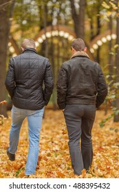 two young man in black jacket in autumn park, view from back