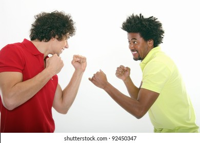 Two young man are fighting - having fun
