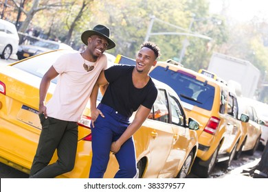 Two young men with a fashionable style in New York city