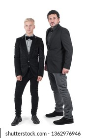 Two young men in jackets isolated on white