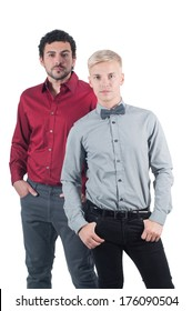 Two young men in shirts