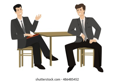 Two young men-talking businessman at the table, illustration on a flat style