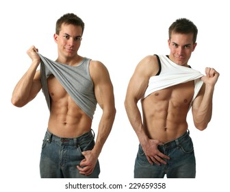 Two young muscular men showing their abs isolated on white