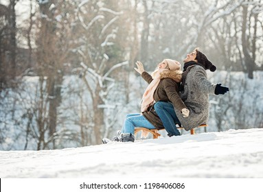Two young people sliding on a sled