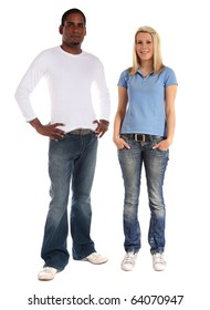 Two young persons of different skin color standing next to each other. All on white background.
