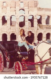 Two young sisters on vacation in Rome, Italy, 1964