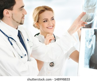Two young and smart medical workers
