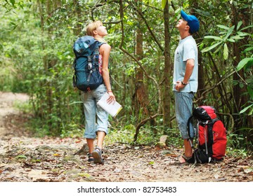 Two young tourist people with the map looking to the upward in the forest