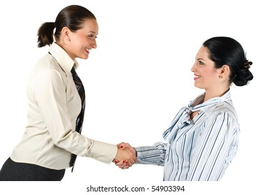 Two young woman give handshake concept of successful teamwork or congratulating colleague