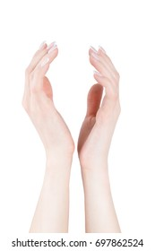 Two young woman hands holding of taking something up, isolated, white background