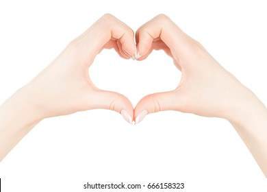 Two young woman's hands put together in the shape of a heart, isolated on white background