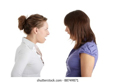 Two young women arguing, isolated on white background