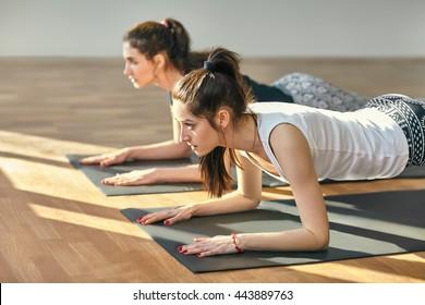 Two young women doing yoga asana Low Plank Pose. Ardha Phalakasana
