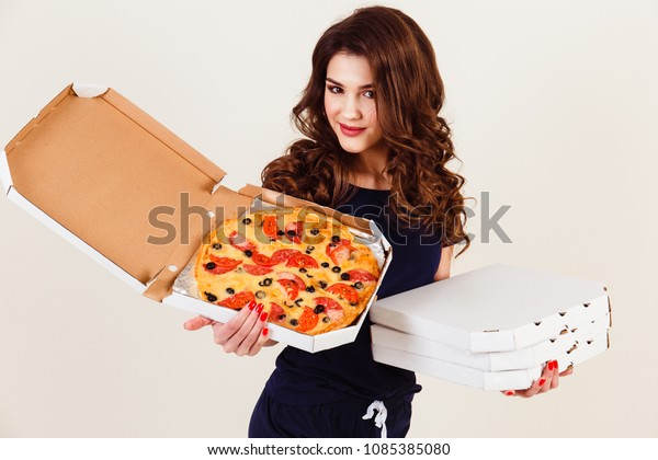 Two Young Women Hot Pizza Box Stock Photo Edit Now 1085385080