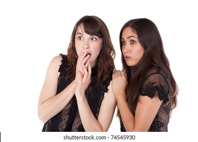 Two young women looking scared or startled
