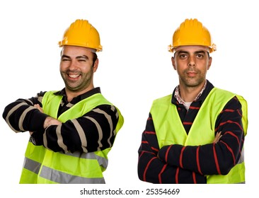 two young workers in a white background