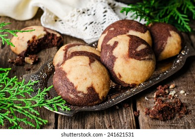 Two-color Kurabiye with cocoa in vintage iron tray on wooden background.  - Shutterstock ID 241621531