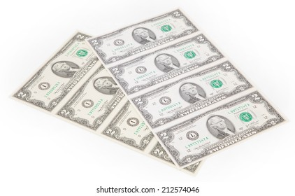 Two-dollar bills. There is white space for text