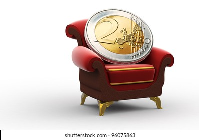 Two-Euro coin residing on a throne-like red and brown chair with golden legs and borders. High detailed 3D render over white background.
