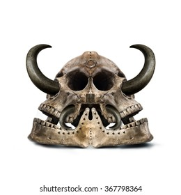twofold mysterious skull with sharp horns