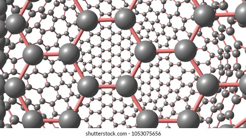 Two-layer graphene-like molecular structure isolated on white background. 3d illustration